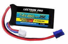 Lectron Pro 7.4V 860mAh 25C Lipo Battery with EC2 Connector for Losi Mini T