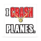 Wall Clock - I Crash Planes - 8 in.